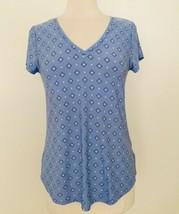 Alfani Women's Printed V-Neck Tee Sleep Top 100015436 Blue Medium - $13.77