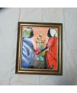 Vintage D Roberts Jamaican Oil Painting, Jamaica Folk Art, Two Ladies at... - $22.43