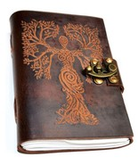 Tree Goddess 120 pages leather blank book w/ latch - $49.99