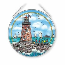 """Old Red Lighthouse Sun Catcher AMIA Hand Painted Glass 6.5"""" New Light At... - €28,85 EUR"""