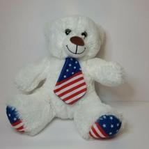 Nanco White Plush Teddy Bear With American Flag Tie & Feet - $9.32