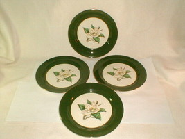 "Homer laughlin jade rose green 4pc dinner plates 10"" VG Vintage (LOT1) - $33.00"