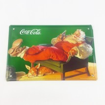 Coca Cola Santa Kick Back on a Chair with Deer Fawn 4 x 6 Metal Sign - $19.99