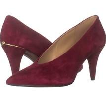 MICHAEL Michael Kors Lizzy Mid Pump Classic Dress Heels 766, Maroon Sued... - $45.11