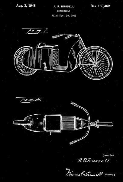 Primary image for 1948 - Motorcycle - A. R. Russell - Patent Art Poster