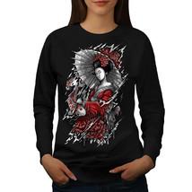 Geisha Umbrella Japan Jumper  Women Sweatshirt - $18.99