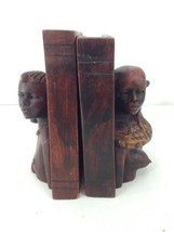 "Handmade Carved Hardwood Man Woman Egyptian African Antique Vintage 6"" B... - $78.21"