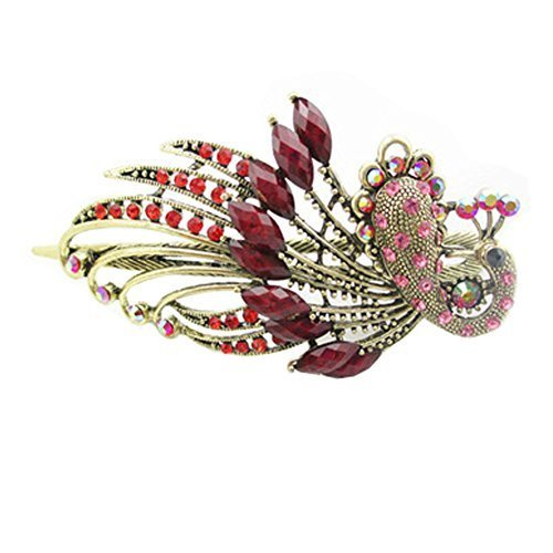 Retro Peacock Pattern Luxury Aulic Style Crystal Bronze Alloy Hair Claws, Red L