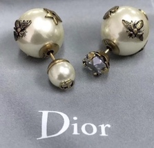 AUTH Christian Diorl Earrings DIOR TRIBALES PEARL Crystal Multi Charm Star Gold  image 4