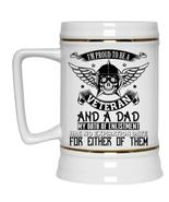 Cool Veteran Beer Stein 22oz, I'm Proud To Be A Veteran And A Dad Beer Mug - $26.99