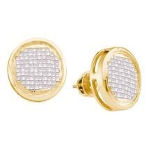14kt Yellow Gold Womens Princess Diamond Circle Cluster Stud Earrings 1.00 Cttw - $485.00