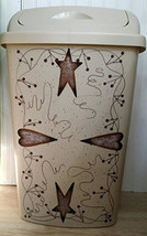 Rusty Tin Stars Hearts Pip Berry Vine Kitchen Trash Can - $69.00