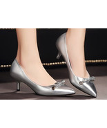woman candy color kitten pump heel, size 4-8.5, silver - $68.80