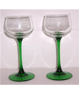 Vintage Arcoroc Luminarc, French, D'Arques, Handblown Green Stem Wine Gl... - $26.00
