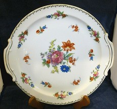 Noritake Floral Cake Plate Bright Flowers Gold Trim 10 1/2 In Great Shape   SHP - $38.12