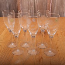 6 Clear Glass Goblets Made In Romania Floral Pattern - €20,52 EUR