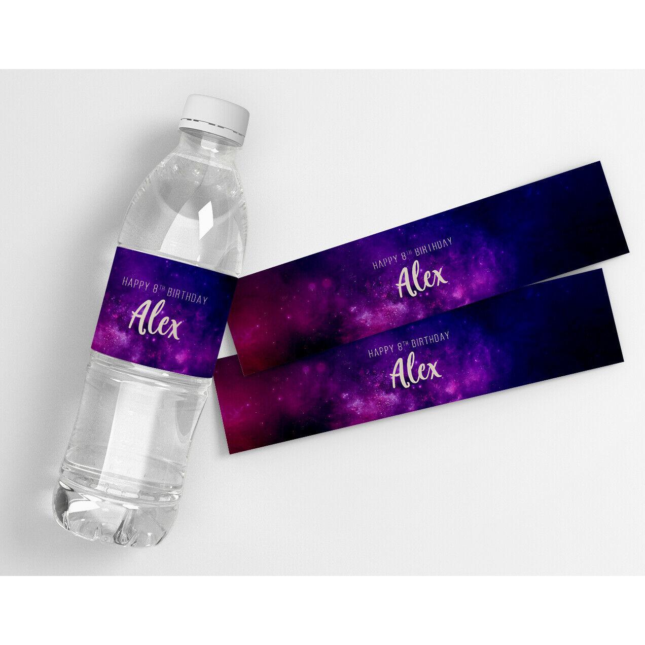 Purple Galaxy Kids Teens Birthday Decor Personalized Water Bottle Labels