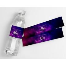 Purple Galaxy Kids Teens Birthday Decor Personalized Water Bottle Labels  - $21.78