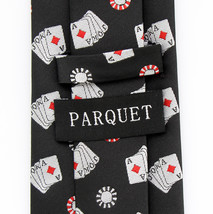 Poker Mens Necktie Gambling Black Neck Tie Casino Game Cards Gambler Dress New image 2