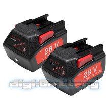 TWO Batteries For MILWAUKEE 28V M28 V28 48-11-2830 2.0Ah w/ LED Gauge Ba... - $124.73