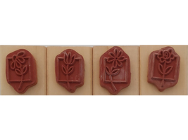 Anita's Flower Wood Mounted Rubber Stamps, Set of 4 image 2