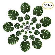 "CWLAKON 60 PCS Artificial Tropical Palm Leaves-3 Sizes/13/8/6"" for Hawai... - $17.58"