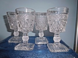 """VINTAGE CUT GLASS CLEAR CORDIALS 4 1/2"""" TALL SET OF 7 - $11.00"""
