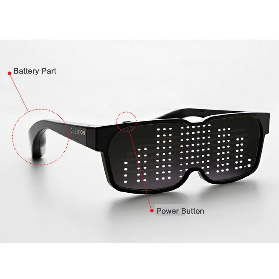 CHEMION 2 Smart Bluetooth LED Sunglasses Club Party Sports Glasses (1pair)