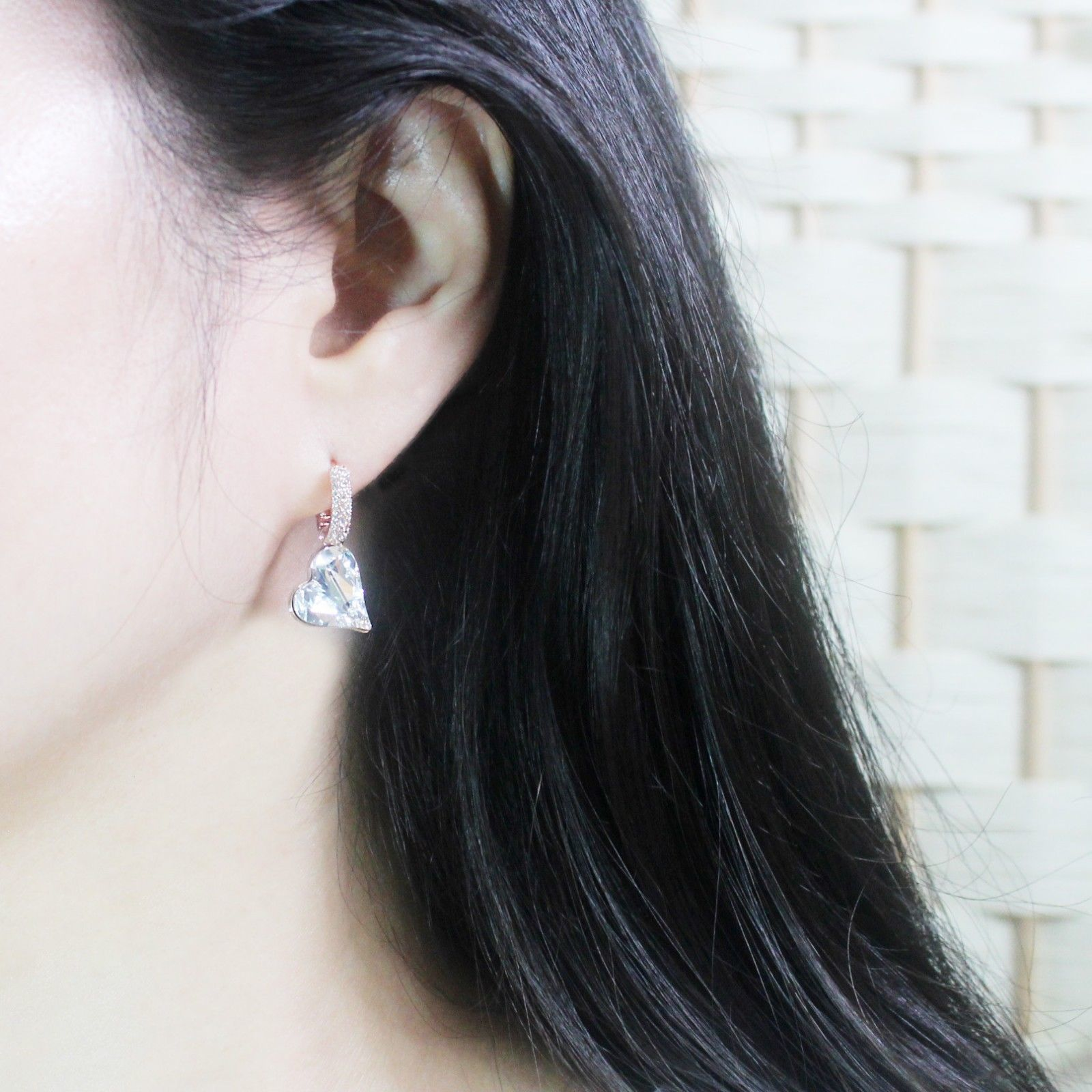 Heart Made With Swarovski Crystal Laverback Dangle Earrings Cubic Zirconia E215 image 11