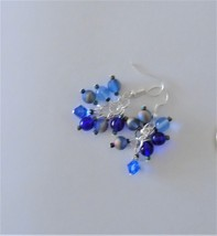 Blue glass Cluster earrings Handmade fashion jewelry Womens dangle earrings - $6.00