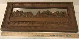 "Vtg The Last Supper Framed Home Interior Mirror Wall Art Religious 22"" X 10"". - $56.10"