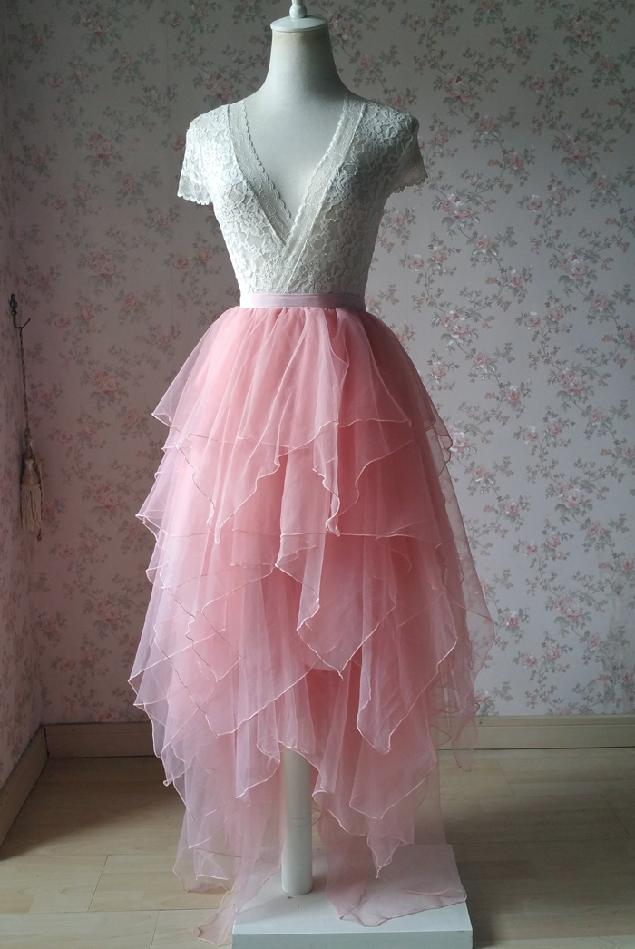 Tier tulle skirt pink 700 1