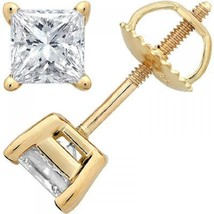 18k Yellow Gold Plated 925 Silver Princess Cut White Cubic Zirconia Stud Earring - £16.85 GBP
