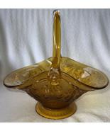 Vtg Indiana Glass Basket Tiara Fruit Bowl Amber Harvest Gold Large Foote... - $34.99