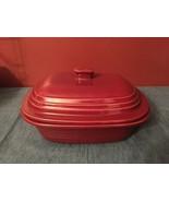 Pampered Chef Cranberry Glazed Deep Covered Baker Stoneware Mini Roaster... - $34.95