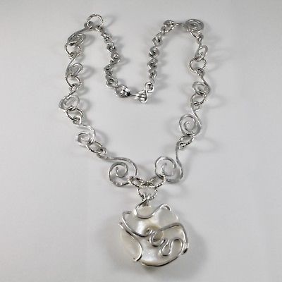 NECKLACE THE ALUMINIUM WITH DISCO MOTHER OF PEARL NATURAL WHITE LONG 50 CM