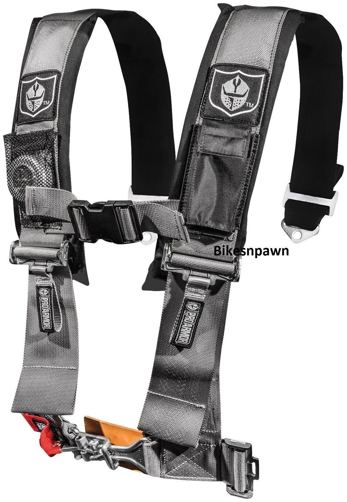 "New Pro Armor Silver 4 Point Safety Harness Seat Belt 3"" Pads RZR  A114230SV"