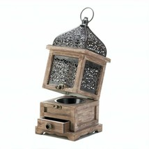 Large Flip-Top Moroccan Wooden Metal Candle Lantern - $19.24