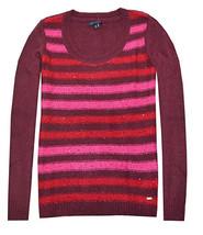Tommy Hilfiger Damen Paillette Streifen Logo Pullover ( burgund/rot/pink ) - $29.95