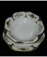 Nippon Hand Painted Mayo Bowl With Saucer Raised Gold Design Blue Accent... - $18.99