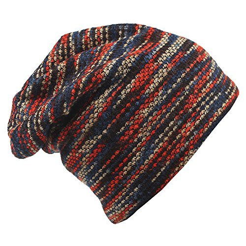 MAGARROW Men's and Women's Winter Wool Warm Hat Beanie Cap Daily Slouchy Hat Red