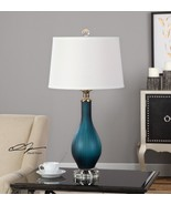 MODERN DESIGNER MIDNIGHT BLUE GLASS CRYSTAL FOOT TABLE LAMP LIGHT NICKEL... - $213.40