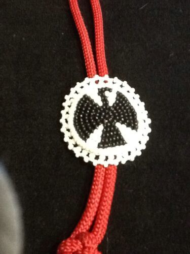 Thunderbird Beaded Seeds Necklace Bolo Tie black and white medallon with red tie