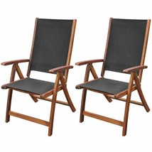 vidaXL 2x Solid Acacia Wood Garden Folding Chair Patio Outdoor Reclining... - $205.99