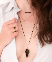 Bohemian Retro Style Arrowhead-Shaped Black Crystal Beaded Long Necklace - £2.29 GBP