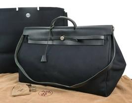 Authentic HERMES Her Bag GM Black Canvas Hand Bag Purse #34781 - $895.00