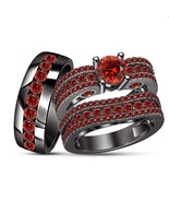 Round Red Garnet 14k Black Gold Finish 925 Silver Bride & Groom Trio Rin... - $167.98