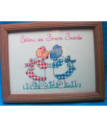 Cross Stitch Completed Sisters are Forever Friends Bright Design Framed ... - $14.95