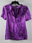 BCBG Maxazria Amethyst Purple Short Sleeve Pleated Collar Accent Top Size S