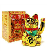"LUCKY BECKONING CAT 5"" Gold Wealth Waving Kitty Maneki Neko Feng Shui Ja... - $8.95"